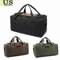 "22/26"" Men's Canvas Leather Gym Duffle Shoulder Bag Travel Luggage Handbag Bags"
