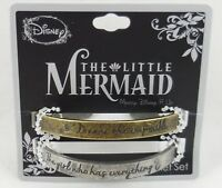 New Disney The Little Mermaid Ariel Quote Cuff Metal Bracelet 2 Pack