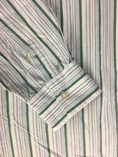 A34 Paul Smith London Mens Green Striped Long Sleeve Button Up Shirt Size:16/33