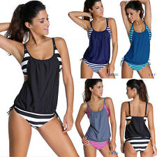 Women Tankini Set Striped Bikini Tops+Bottom Bathing Swimsuit Swimwear Plus Size