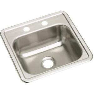 "Elkay Dayton Stainless Steel 15"" x 15"" x 5-3/16"", Single Bowl Drop-in Bar Sink"