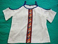 Unbranded Boho Gypsy Hippie Blouse Shirt Blouse Large Cold Shoulder Aztec Tribal