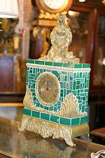 Huge French Gilded Figural Bronze Malachite Mantel Clock 19C. Stunning