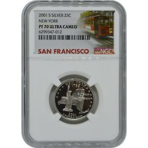 2001-S New York State Proof Silver Quarter NGC PF70 Ultra Cameo Trolley Label