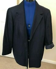 Talbots Womens Jacket Open Front Blazer Plus Size16W Navy Blue 100% Linen Lined