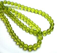 50 6mm Beads Olivine Green Peridot Yellow Round Shiny Semi-Transparent T-13B
