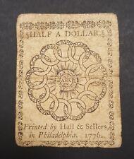 New ListingBen Franklin Fugio Design Fr. Cc-21 February 17, 1776 $1/2 Continental Currency