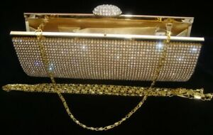 Gold Crystal Stone Diamante Evening Handbag Clutch Purse Party Prom Wedding Xmas