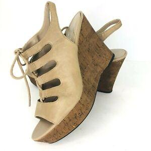 Franco Sarto Sunitha 7.5 M Beige Leather Lace Up Platform Cork Wedge Heel Sandal