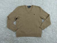 Vintage Polo Ralph Lauren Lambswool Sweater Men XL Extra Large Tan Brown V-Neck