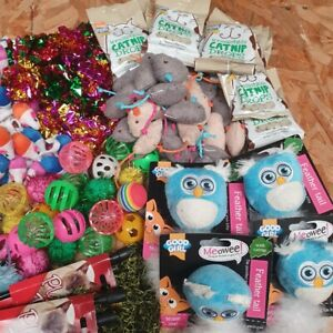 Bulk Buy Cat Kitten Toys Bundle Rod Fur Mice Bells Balls Catnip 10 items BARGAIN