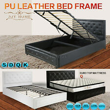 Bed Frame PU Leather Double Queen King Size N/Gas Lift Bedroom Furniture Storage