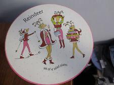 4  ROSANNA CHRISTMAS REINDEER DESERT SALAD PLATES IN ORIGINAL BOX
