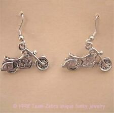 Funky MOTORCYCLE PEWTER EARRINGS Harley Scooter Punk Biker Rocker Charm Jewelry