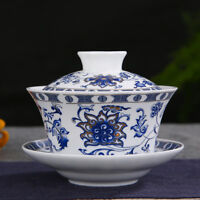 10oz porcelain gaiwan ceramic cup bowl tureen Chinese covered bowl & saucer big