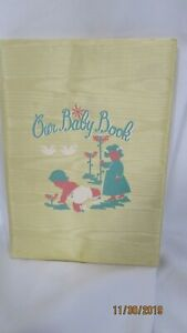 Vintage Our Baby Book Pale Yellow Bound Baby Memory Book Kansas Ads Unused