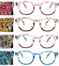 Womens Reading Glasses Round Colorful Fashion Spring Hinge Readers with Case