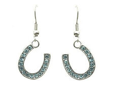 HORSE & WESTERN  JEWELLERY JEWELRY LADIES SILVER  HORSESHOE  EARRINGS AQUA BLUE
