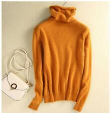 Womens Mink Cashmere Sweater Fashion Heap Neck Slim Sweaters Turtleneck Pullover