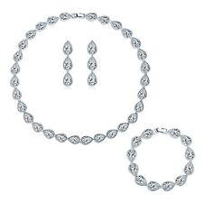 Jewelry-SET Elegant Pear Drop Diamond Swarovski Crytal Silver Lady Women Wedding
