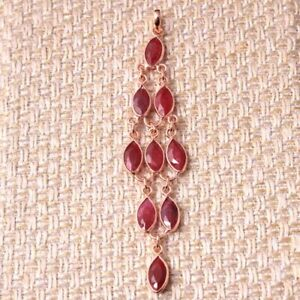 """Rose Gold kashmir Ruby Gemstone 925 sterling Silver Jewelry Solid Pendant 3.5"""""""