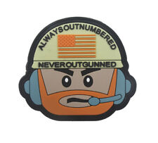 ALWAYS OUTNUMBERED NEVER OUTGUNNED USA ARMY Tactical Morale Hook PVC Patch Badge