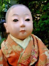 ANTIQUE ICHIMATSU JAPANESE BOY CHILD DOLL WITH SIGNATURE AND ORIGINAL CLOTHES