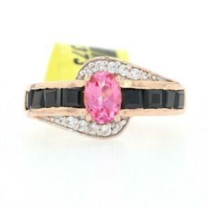 Silver Topaz Zircon Cubic Zirconia Bypass Ring 925 Rose Gold Plated 3.00 Sz 7