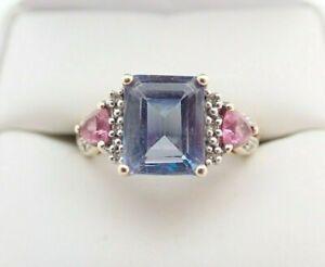 10k Solid Yellow Gold Blue Topaz Pink Sapphire & Diamond Ladies Ring Sz 7