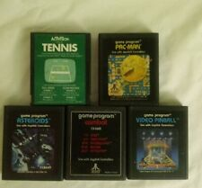 (Atari 2600 Game Lot) Pac-Man, Combat, Video Pinball, Asteroids, Tennis