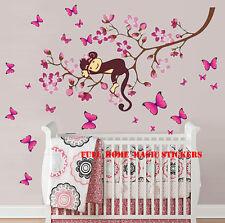 HUGE Combo Pink Monkey Flower Tree Butterflies Wall Stickers Vinyl Paper Decal