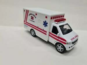 Ambulance white Kinsfun TOY model diecast Car open doors plastic and metal parts