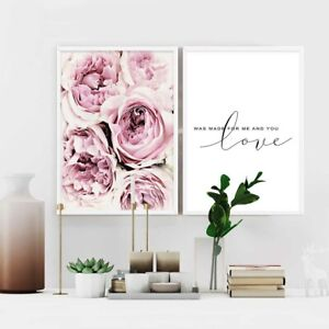 Peony Flower Love Quotes Canvas Poster Print Wall Art Picture Living Room Decor