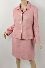 TALBOTS Pink & Cream Metallic Textured Stripe Jacket & Dress Suit Set 14P 14 P L