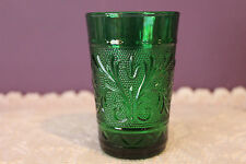 ANCHOR HOCKING FOREST GREEN DEPRESSION GLASS JUICE TUMBLER - SANDWICH