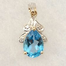 Genuine 9K Solid Yellow Gold 2.28 ct Genuine Swiss Blue Topaz Diamond Pendant