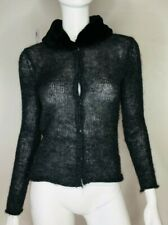 PHEDER Womens Size 6 Grey Vintage Mohair Fur Collar Top Cardigan Knit