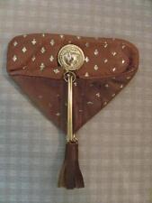 Vintage Fiocchi Italy Leather Penny Pouch Coin Purse Gold Fleur de lis Accents