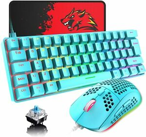 AU 60% Wired Mechanical Gaming Keyboard Mouse and Mat Set RGB Backlit For PC PS4