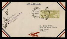 DR WHO 1934 PILOT SIGNED FIRST FLIGHT CHEYENNE WY TO FORT WAYNE IN 158432