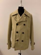 $500 Burberry Brit Double Breasted Pea Coat XL, oversized collar w/throat latch