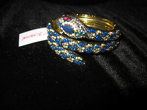 BETSEY JOHNSON BETSEY BLUES PAVE BLING COILED SNAKE STATEMENT BRACELET