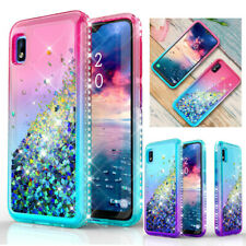 For Samsung Galaxy A10e Phone Case Women Bling Glitter Liquid Shockproof Cover
