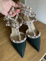 Valentino Pumps Rockstud Dark Green Patent Leather Heels EUR 36 US 6