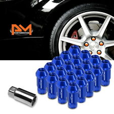 M12X1.5 Blue JDM Open End Cone Seat Hex Wheel Lug Nuts+Extension 25mmx50mm 20Pc