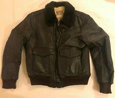 Vtg LL Bean Goatskin Leather Bomber Jacket G-1 Shearling Mouton Fur sz 40 M