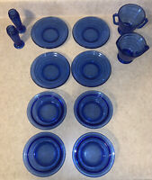 "Vintage Cobalt Blue Hazel atlas 1930's ""MODERNTONE"" 12 Pc. See description"