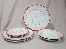 "Studio Nova ""Fashion Grid Red"" Lot - 8 Pieces - Dinner/Salad Plates, Soup Bowls"