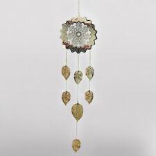 GRANDE Mandala & Foglie Argento in Metallo Decorazione da appendere casa giardino SUN Catcher 24461