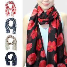 Poppy Print Floral Ladies Scarf Wrap Sarong Long Soft Warm Remembrance Day BM